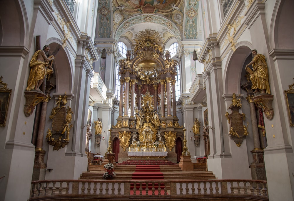 white and gold cathedral altar