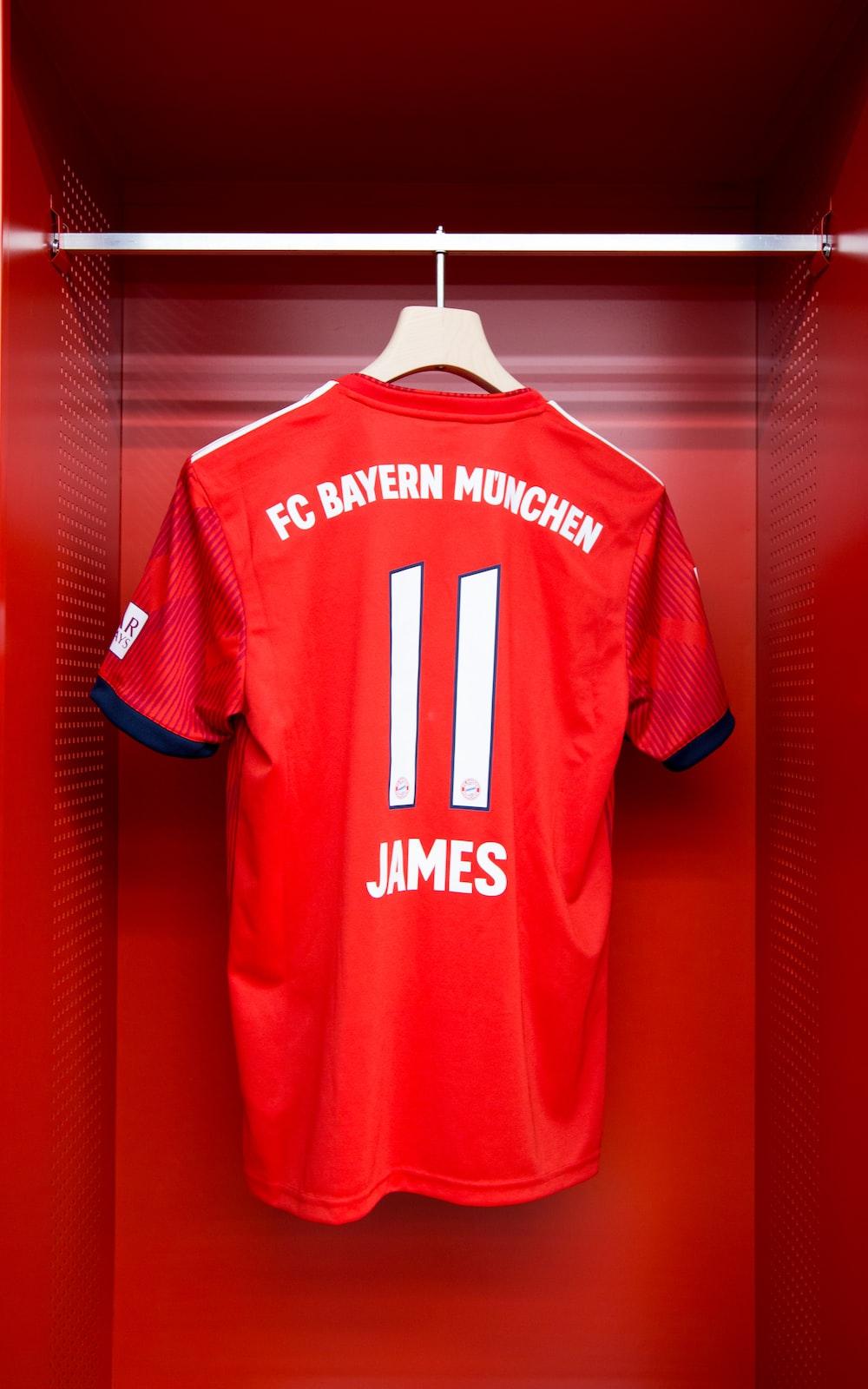red FC Bayern Munchen James 11 jersey