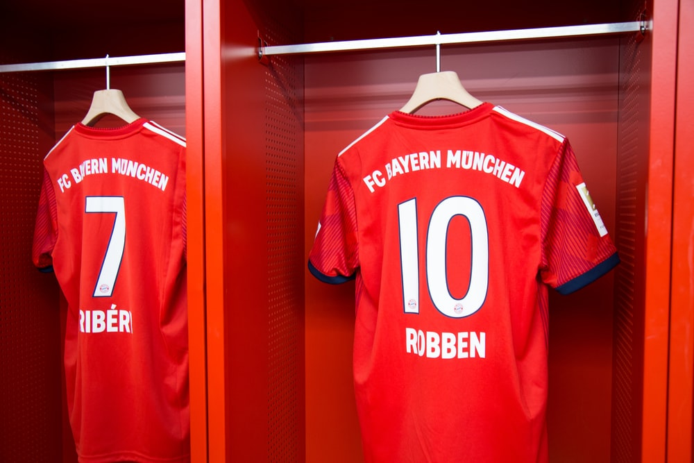 red 10 Robben soccer jersey hanging