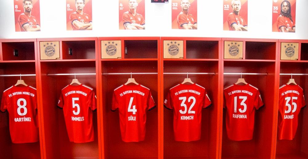 six red jerseys in locker