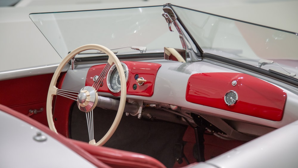red and white convertible