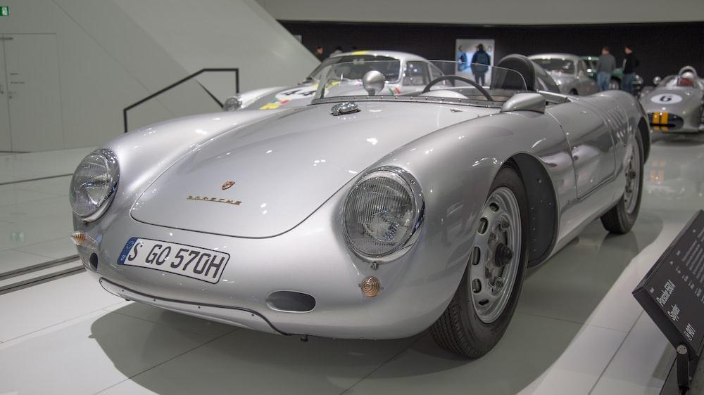 classic silver Porsche vehicle display