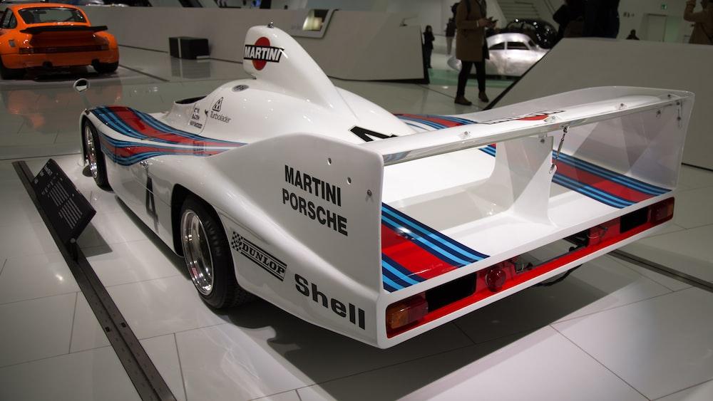 white and red Martini Porsche car