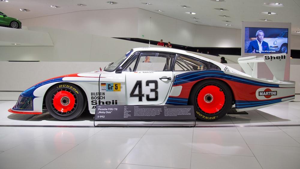 white and blue NASCAR