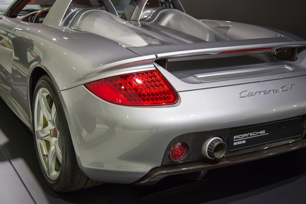 gray Porsche Carrera GT showing taillight
