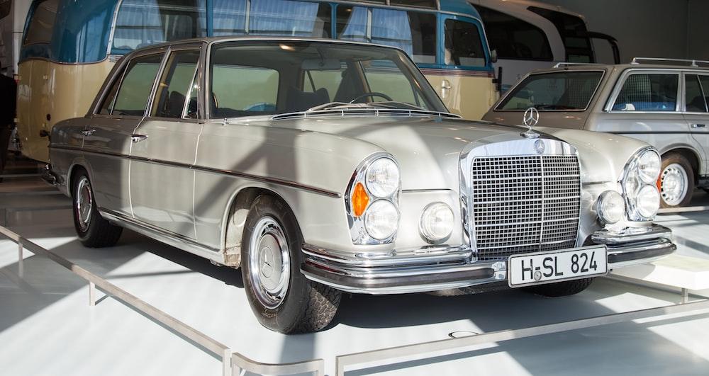 white Mercedes-Benz sedan