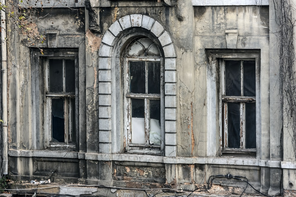 three white wooden windows