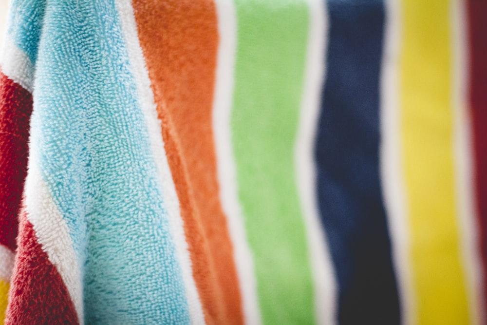 multicolored striped textile