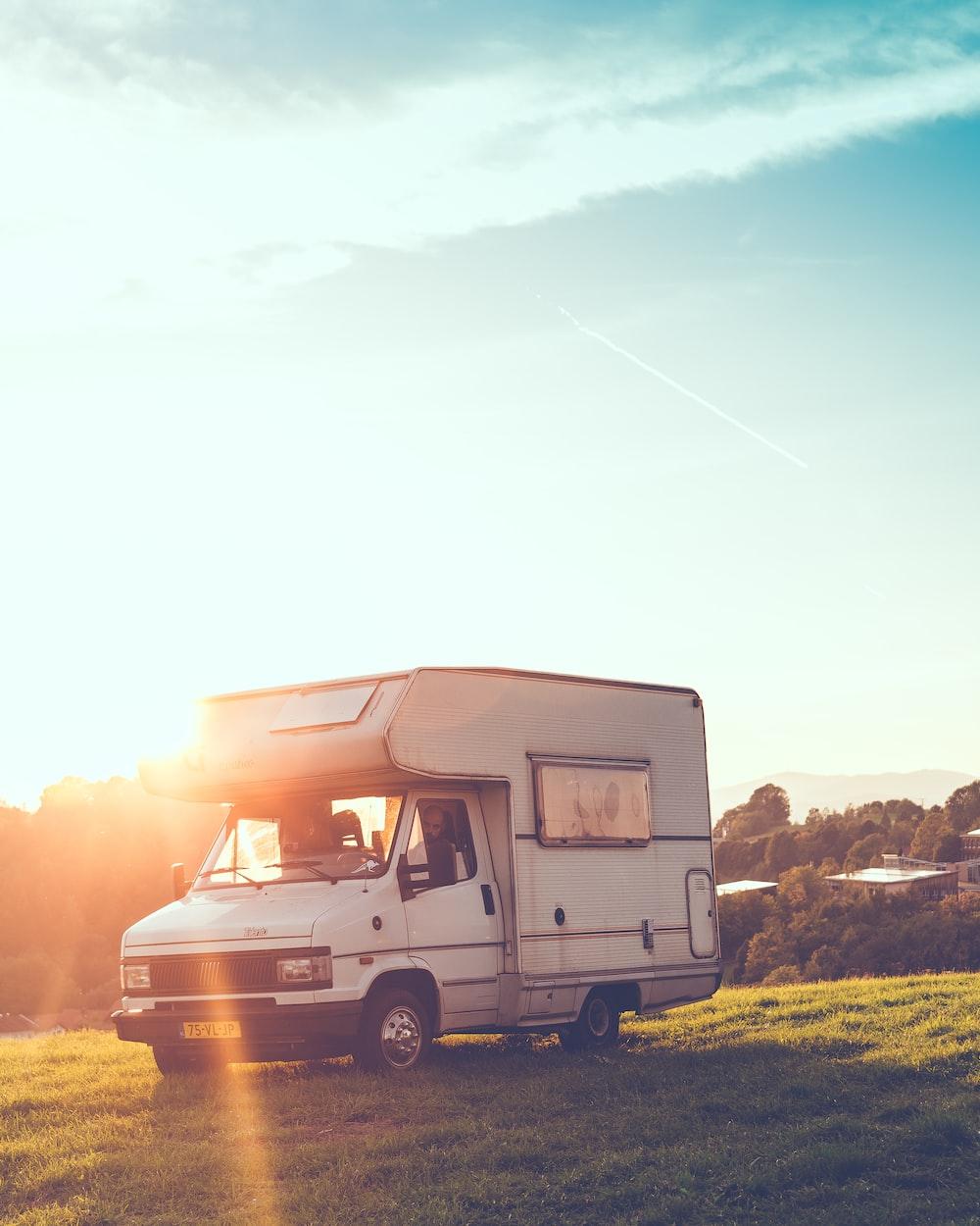 white travel trailer