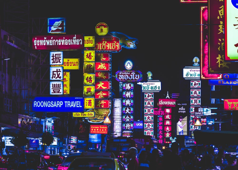LED signages at night