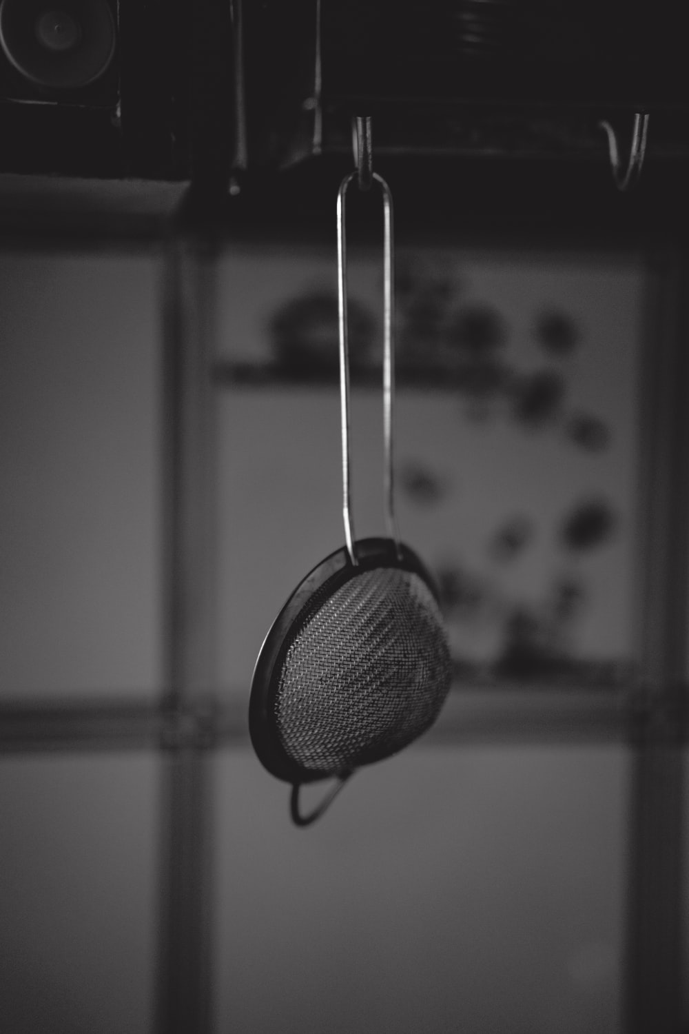 grayscale photography of colander