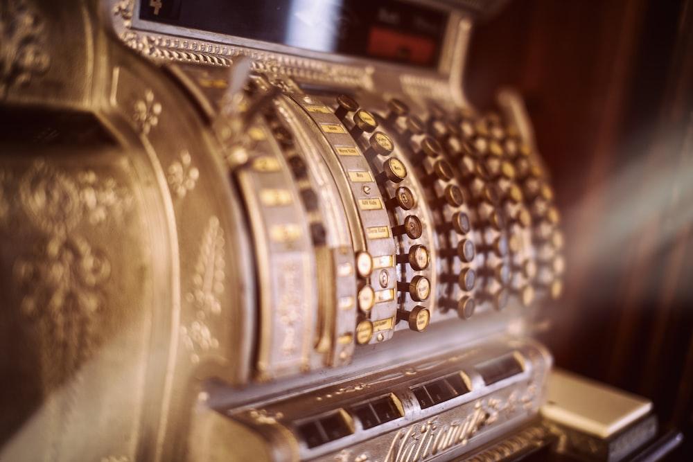 vintage brown cash register