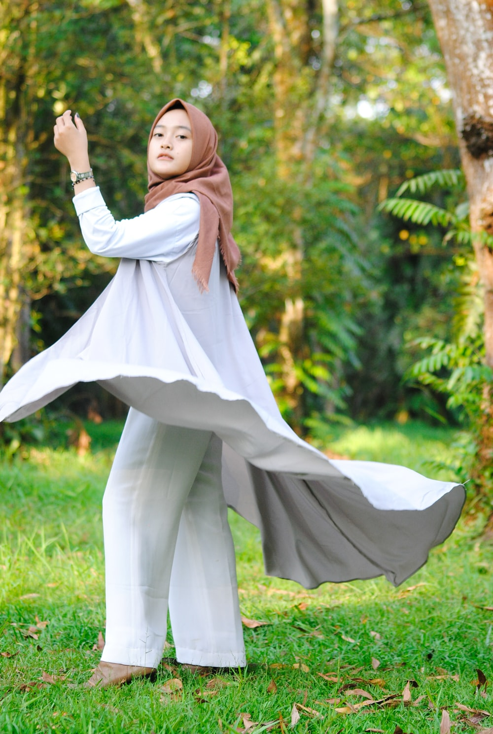 woman flipiing her dress