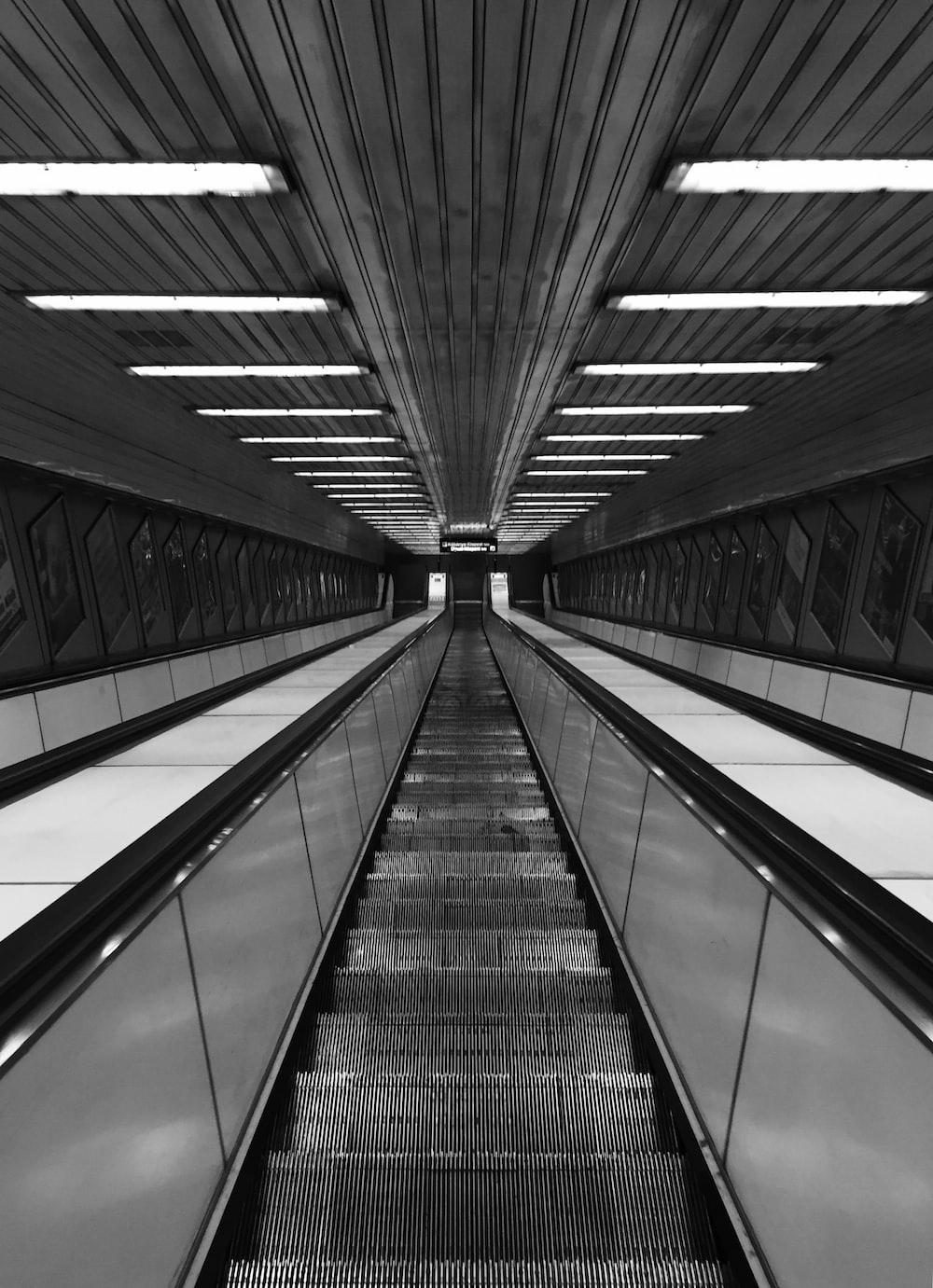 gray empty escalator