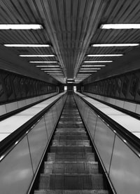 gray empty escalator