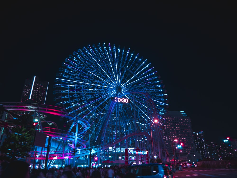 amusement park during night time