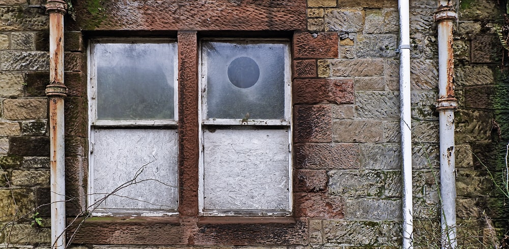 two gray window frames