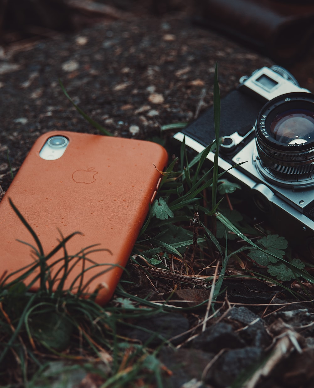 red iPhone and gray film camera on grasses closeup photography