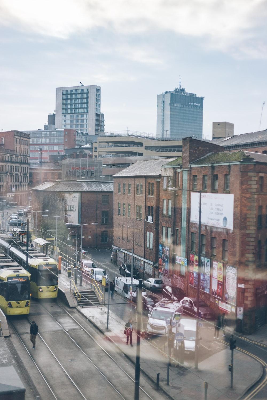 aerial photo of road beside buildings