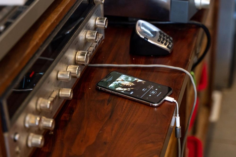 black phone plugged in USB