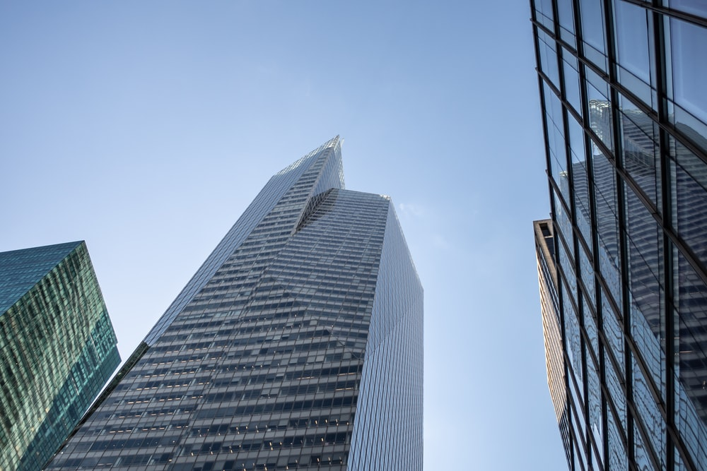low angle photography of curtain building