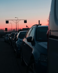 cars lining on street