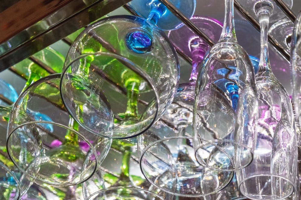 assorted clear wine glasses