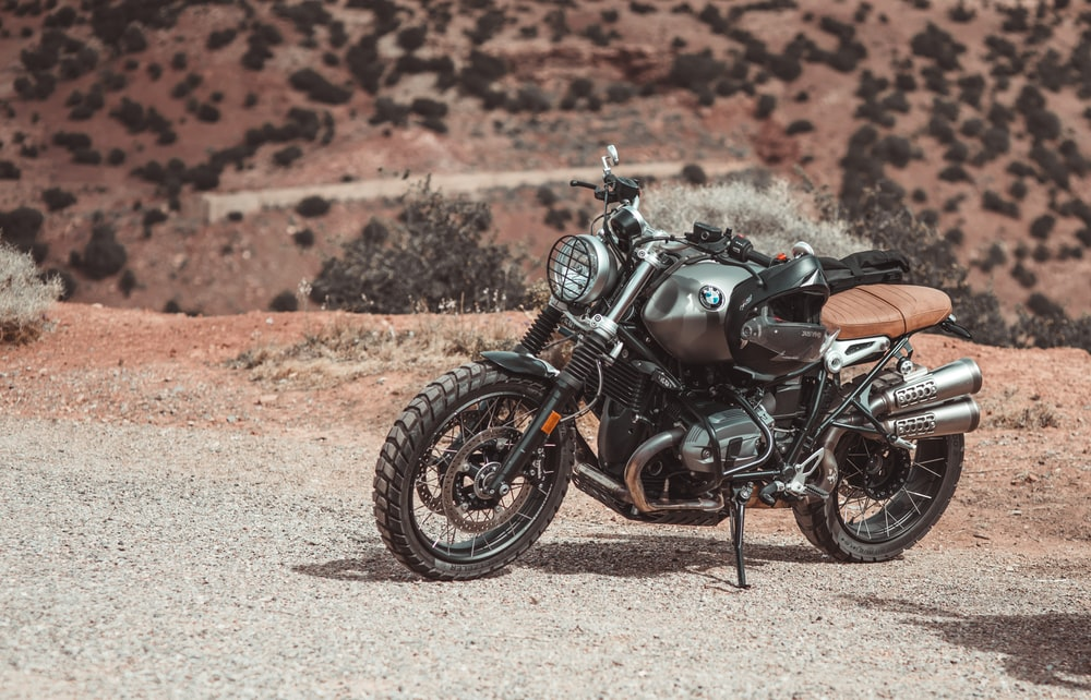 gray BMW motorcycle