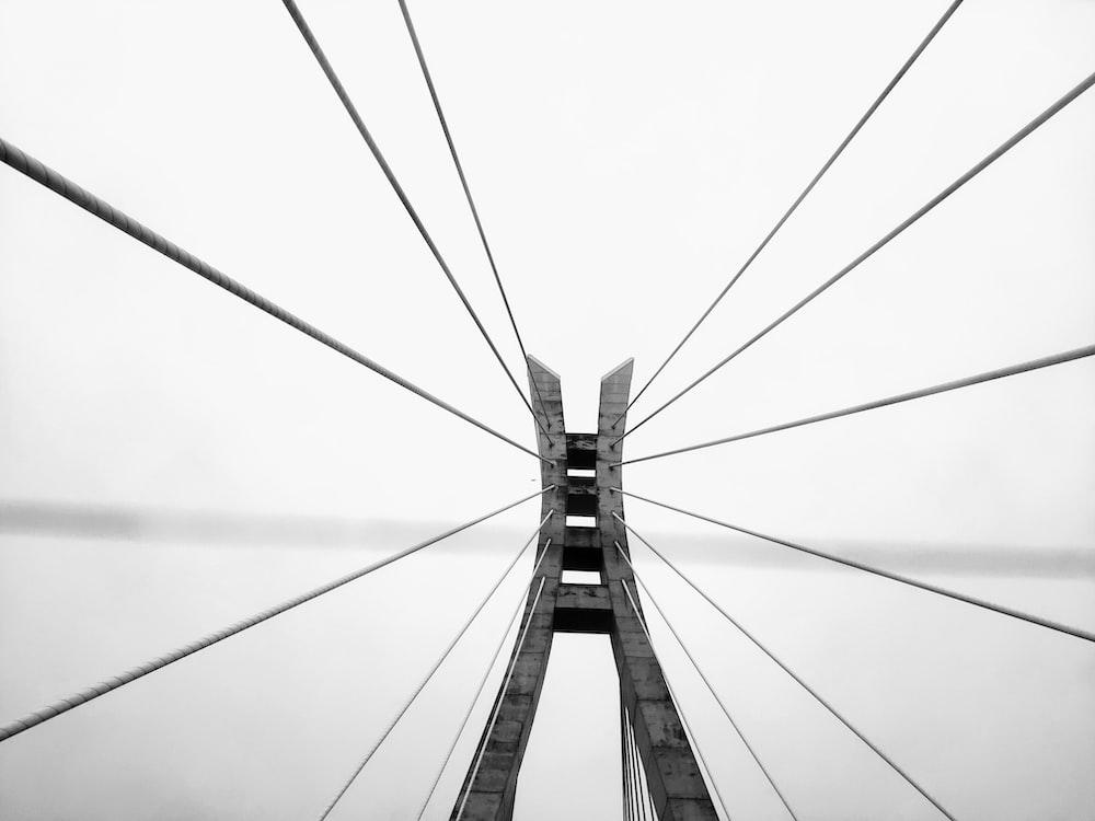 grayscale photography of bridge