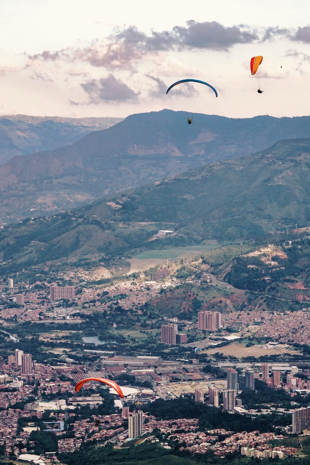 paragliding near mountain