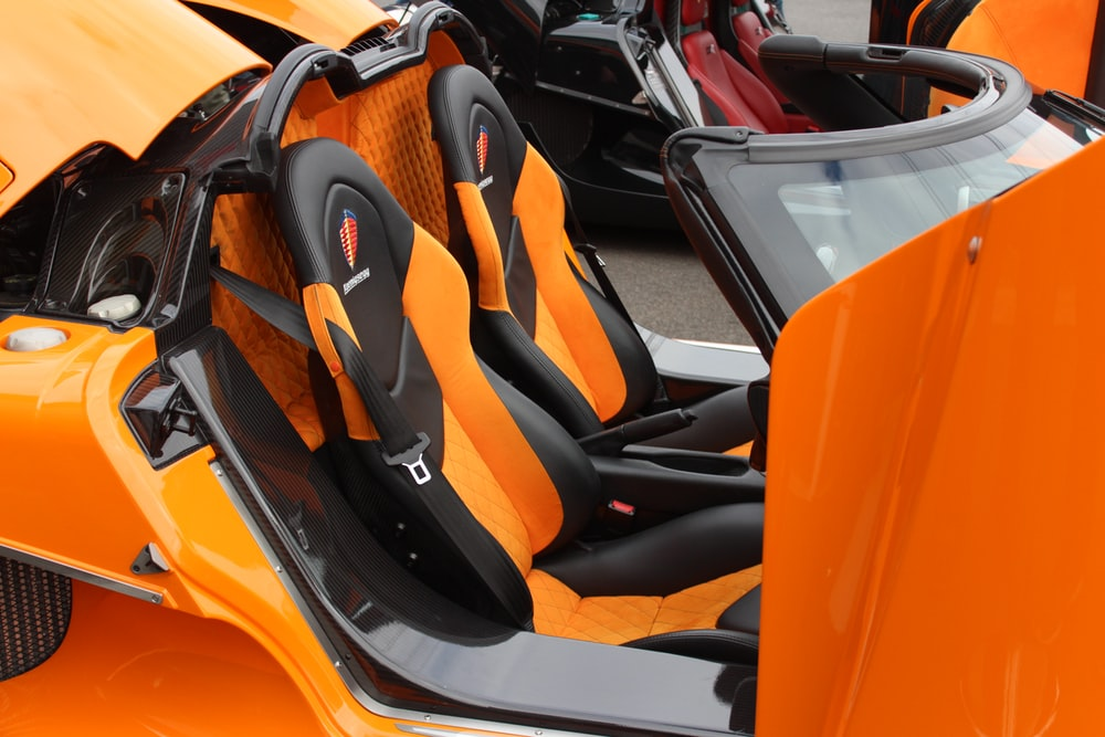orange and black car seat