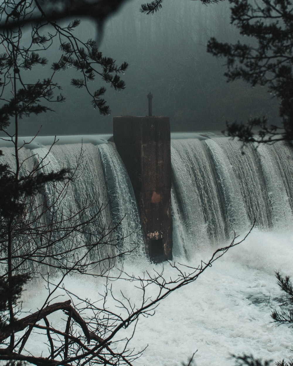 water dam view from trees