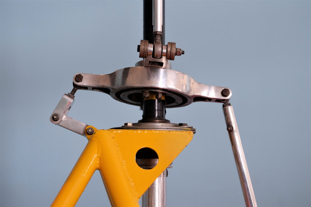 gray and yellow metal frame