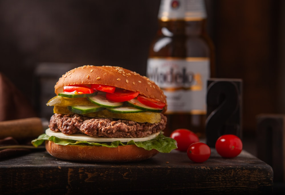 meat burger on table