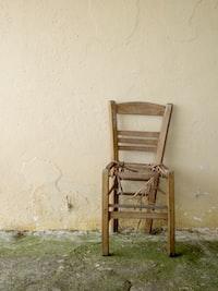 Old broken chair at Mount Pantokrator in Corfu, Greece