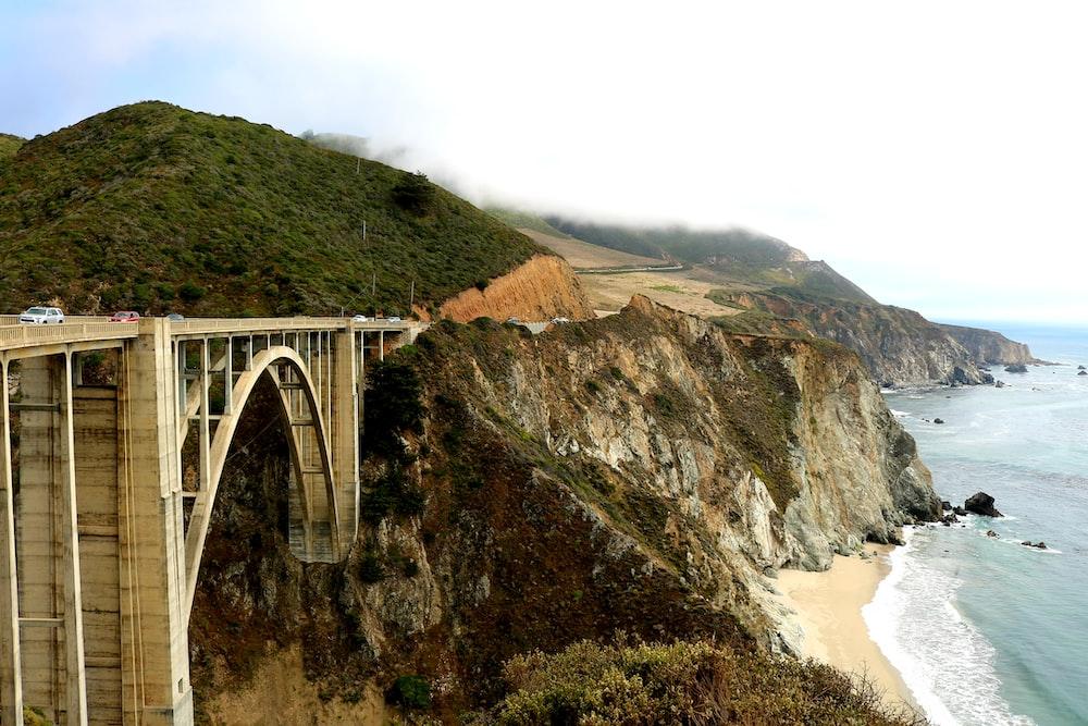 concrete bridge and mountain