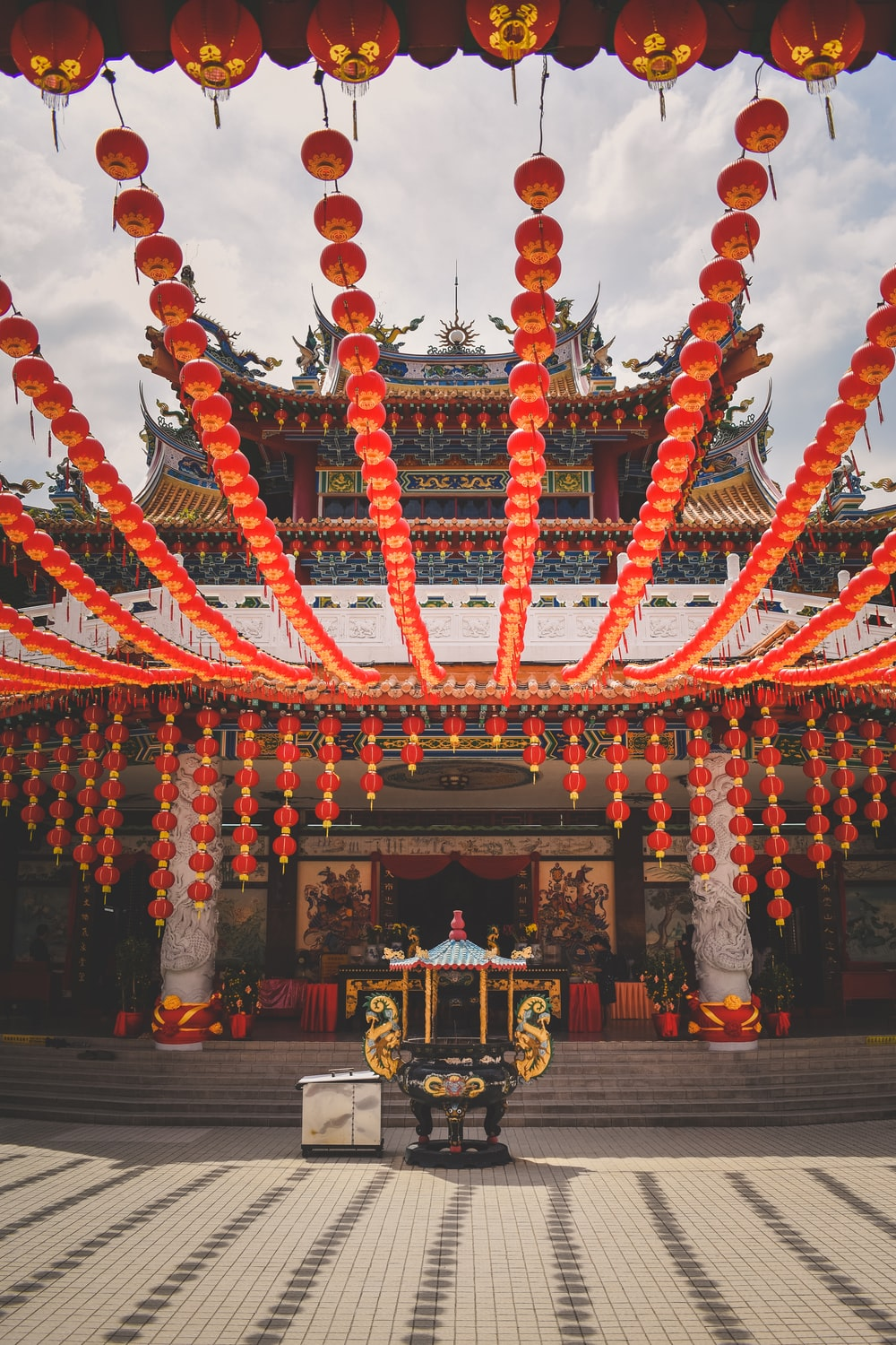 temple with red buntings