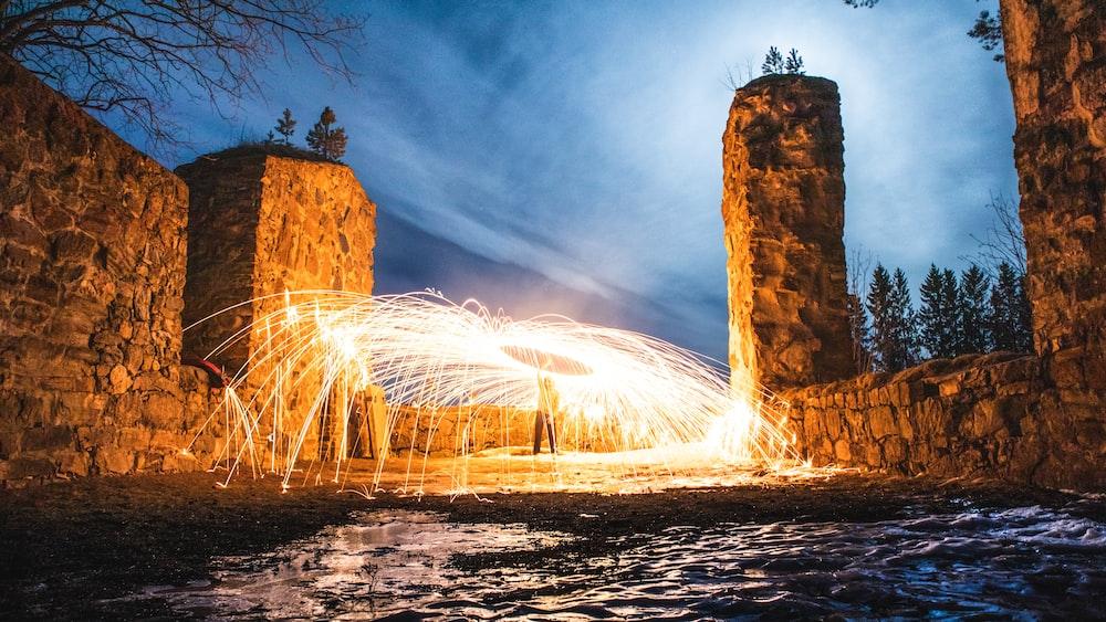 steel wool at nigthttime