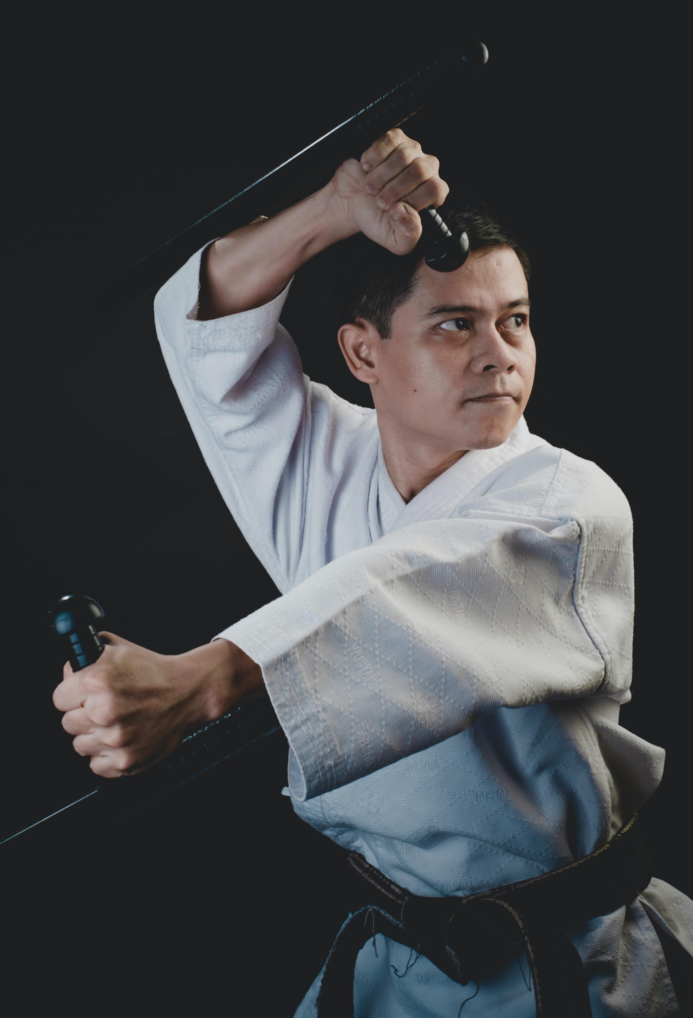 man wearing taekwondo suit