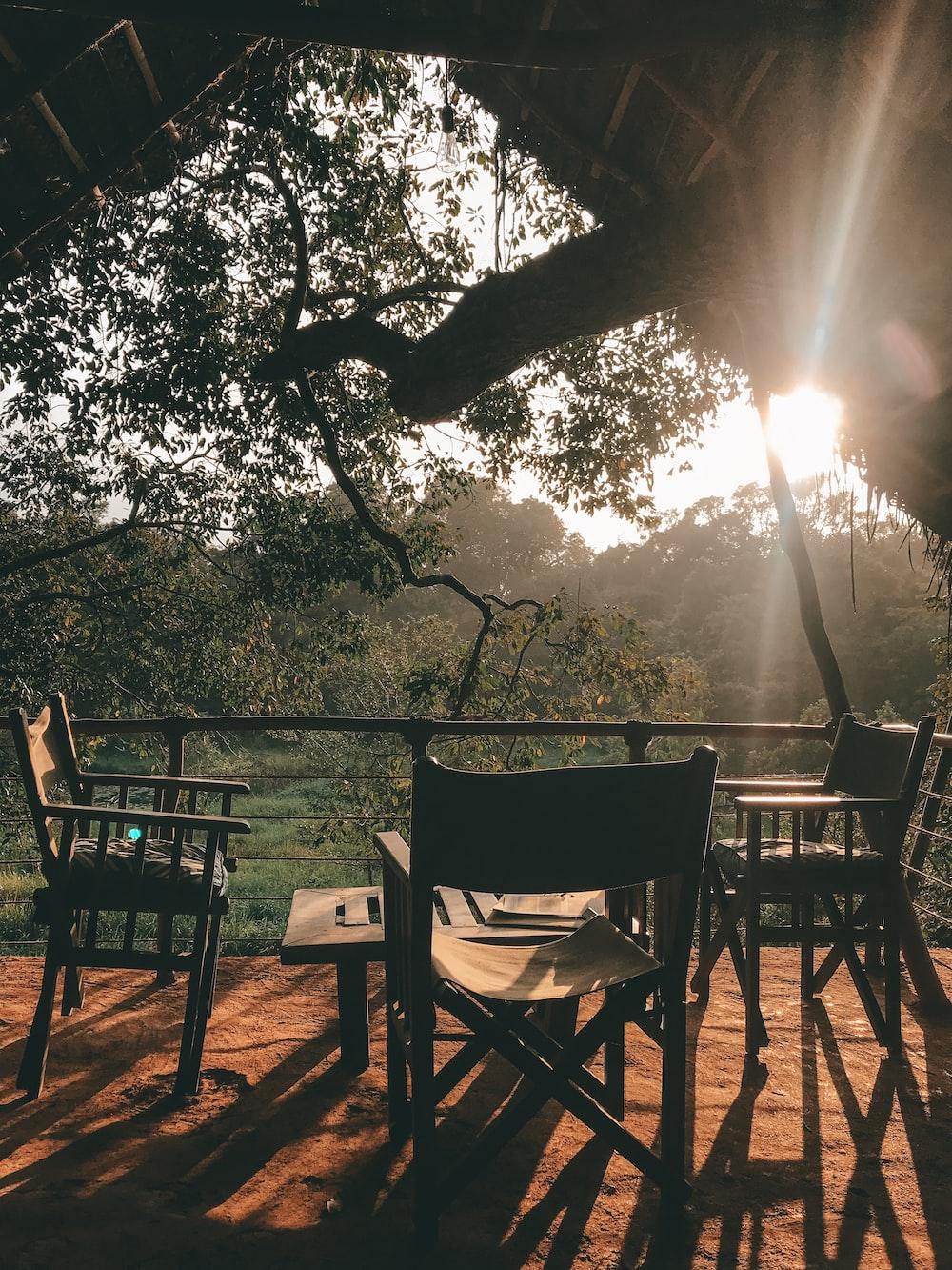 vacant bistro set during golden hour