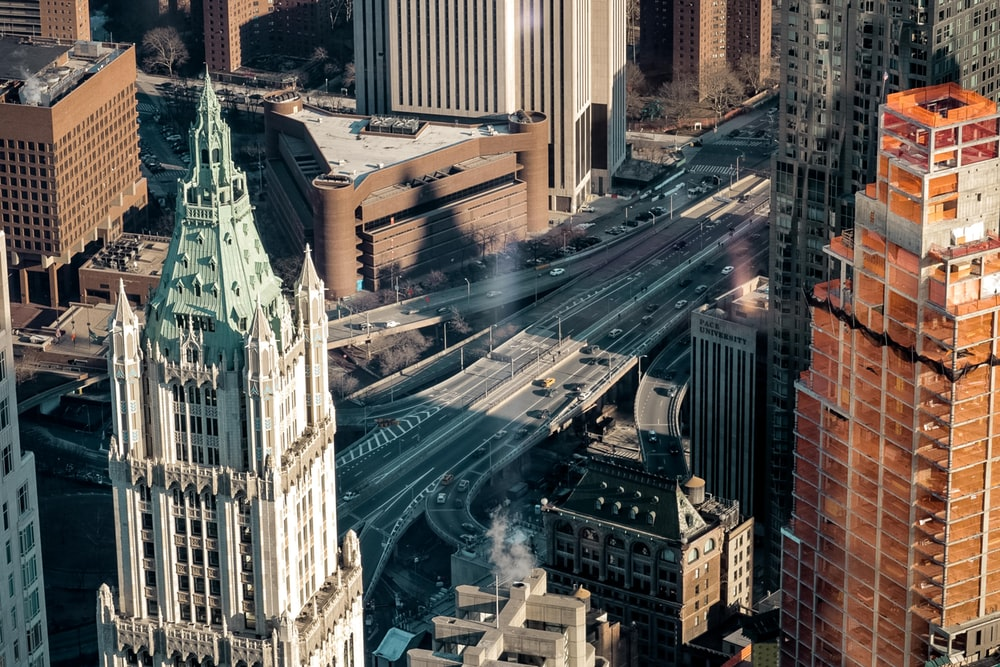 top-view photography of city and road during daytime