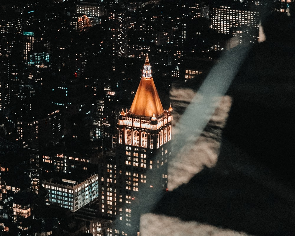 high rise building view at night