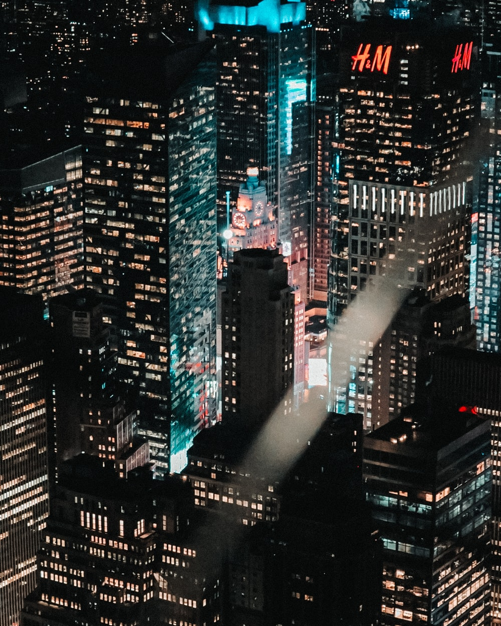 aerial photo of high-rise buildings during nighttime