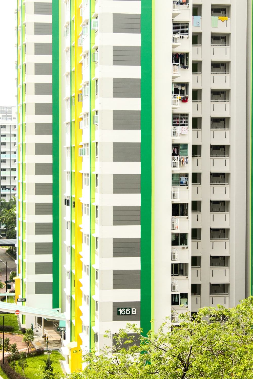 white high rise buildings over the trees