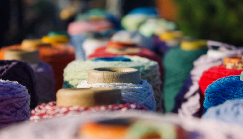 assorted-color yarns