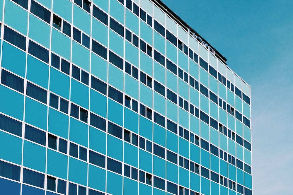 blue window glass building