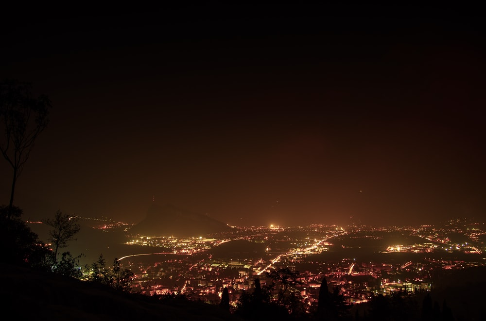 aerial photography of city during night