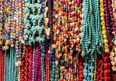 assorted beaded jewelry on display