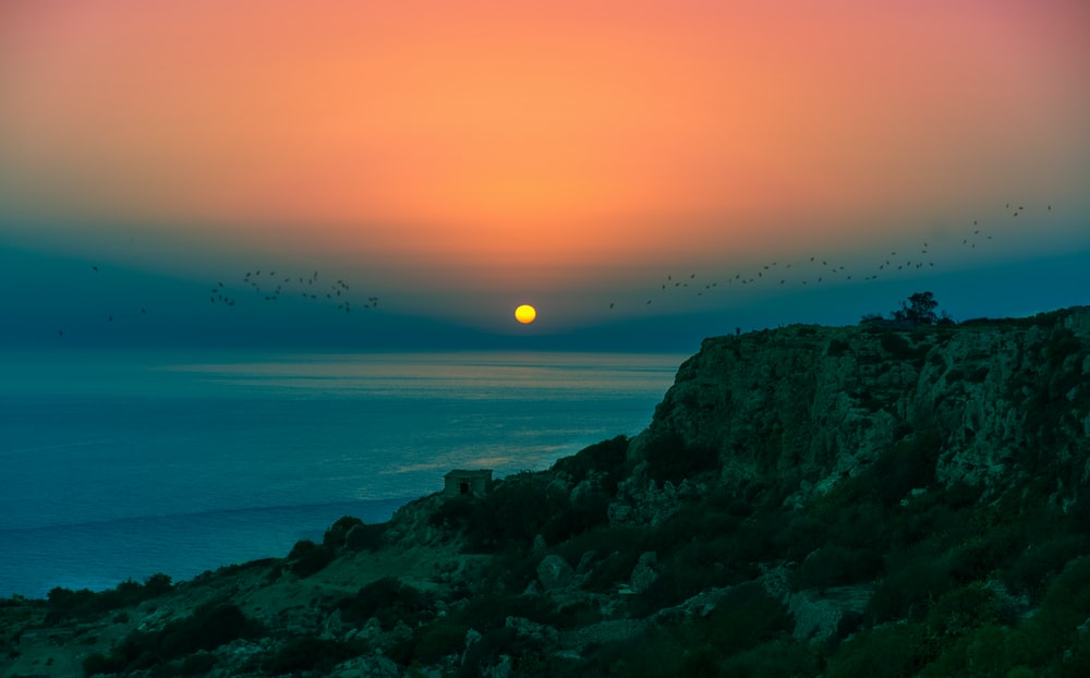 sunset in the seashore