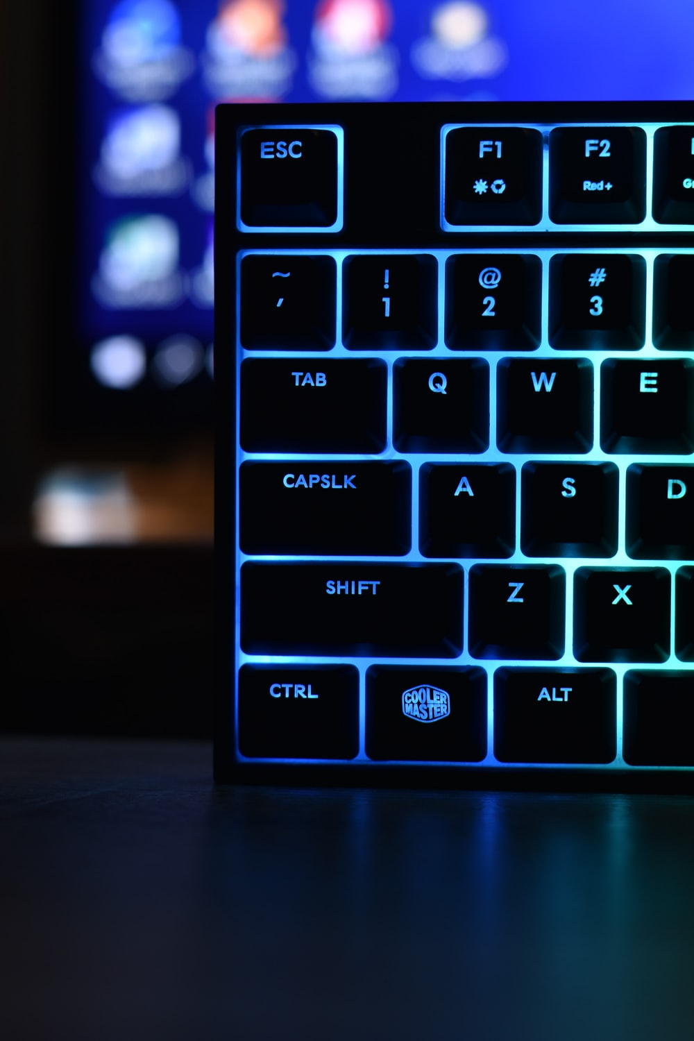 black and blue computer keyboard
